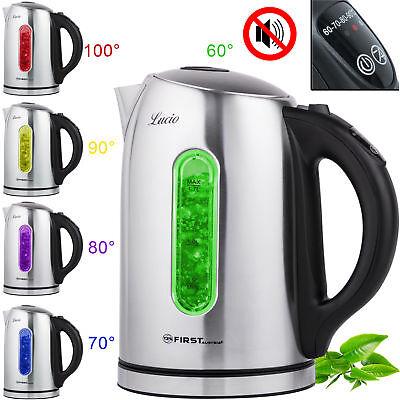 1,7 Liter Edelstahl Wasserkocher mit Temperaturwahl und Warmhaltefunktion 2200 W Wasserkocher