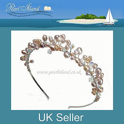 Lilac / Lavender Freshwater Pearl Headband / Tiara, Bridal / Bridesmaid Wedding