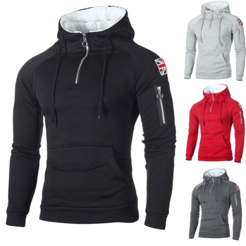 Herren Fleece Pullover Sweatshirt Winter Warm Hoodies Pulli Mantel Jacke Sweater