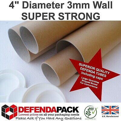 50 x 1219mm x 101mm WIDE SUPER STRONG 3mm WALL Postal Tubes Posting Art Posters
