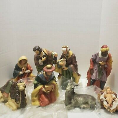 VINTAGE 8 Piece Hand Painted Porcelain Nativity Set Rare Christmas Jesus Mary