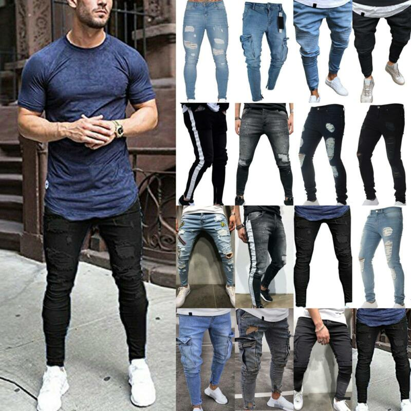 Herren Jeans Hose Slim Fit Jeanshose Stretch Denim Skinny Frayed Jogging Pant DE