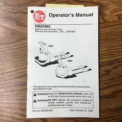 Bt Prime Mover Rmx Hmx Lowlift Electric Truck Operators Maint Manual Pallet Jack