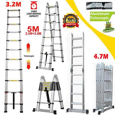 5m 16.5ft A-frame Aluminum Multi Purpose Telescopic Ladder Foldable Step 330lbs