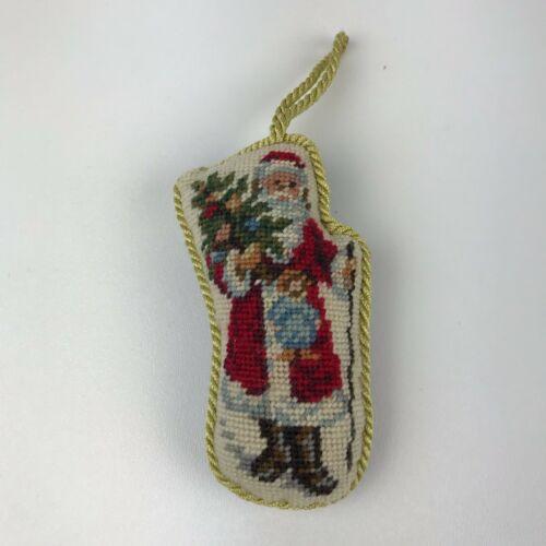 "Finished Needlepoint Christmas Ornament, Santa & Tree, Velvet Back, No Tag, 4.5"""