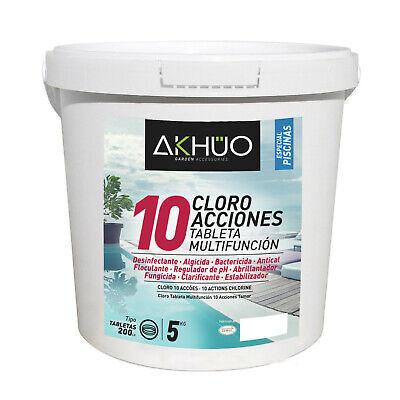 Cloro para piscina con 10 acciones en cubo hermetico de 5kg y...