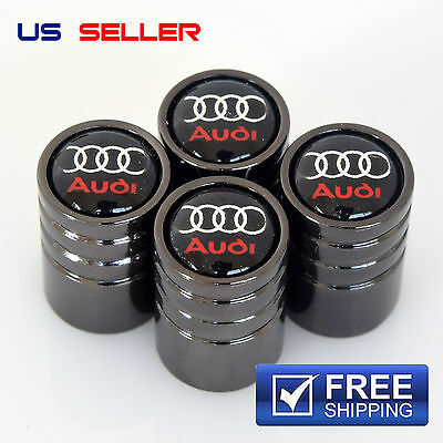 AUDI VALVE STEM CAPS BLACK WHEEL TIRE   US SELLER VE23
