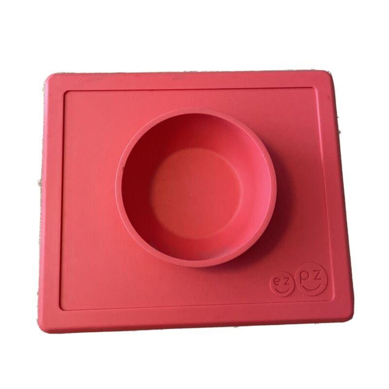 EZPZ Happy Bowl Silicone Suction Bowl RED CORAL Built-in Placemat EZ PZ