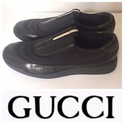 Vintage Gucci Men's Slip On sneakers Size 11 Design By Tom Ford Black Logo