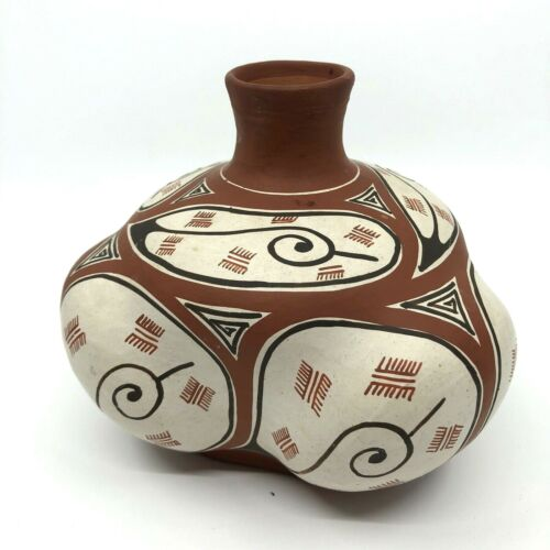 "QUIBOR LARA POTTERY VENEZUELA CERAMIC 5""x5"" VASE NATIVE SOUTH AMERICAN FOLK ART"