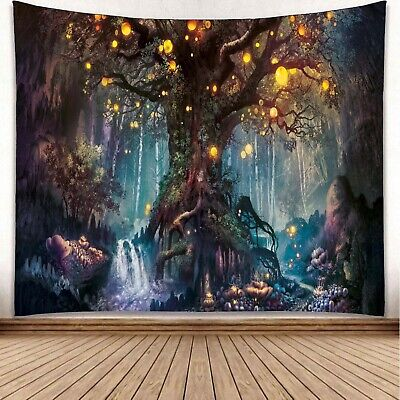 """Tapestry """"Tree Of Life"""" 60"""" x 51"""" (Queen Bed Width) Trippy Psychedelic"""