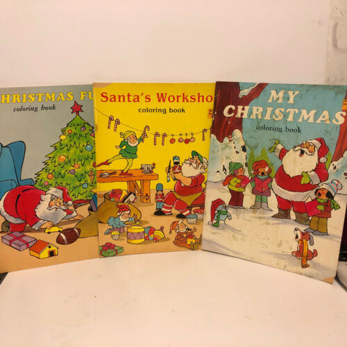Vintage Christmas Coloring Books Lot of 3