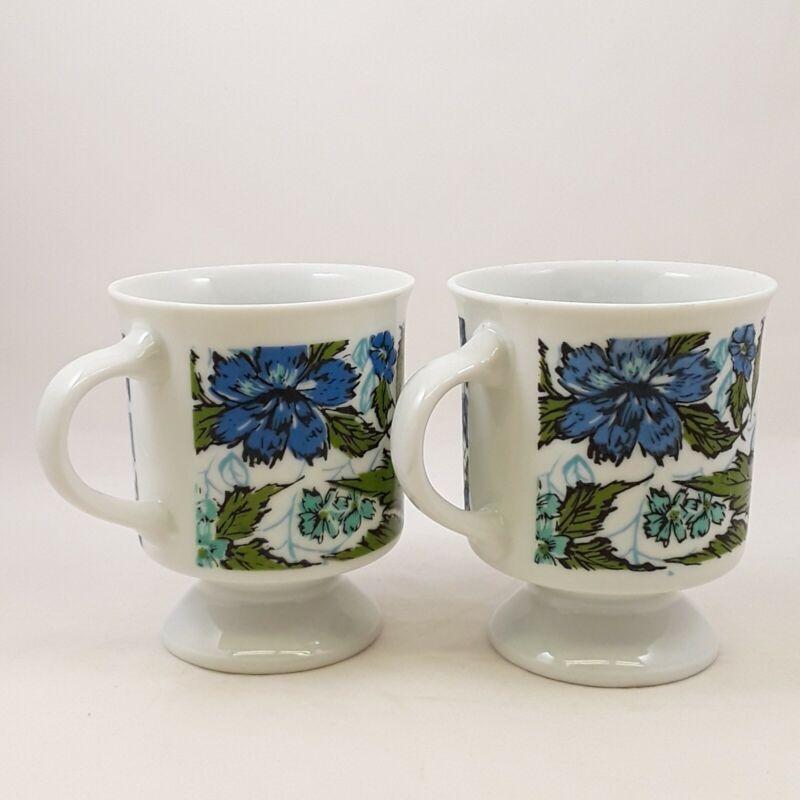 Vintage hippie flowers blue green 7964 Demitasse Footed Coffee Cups - Set of 2