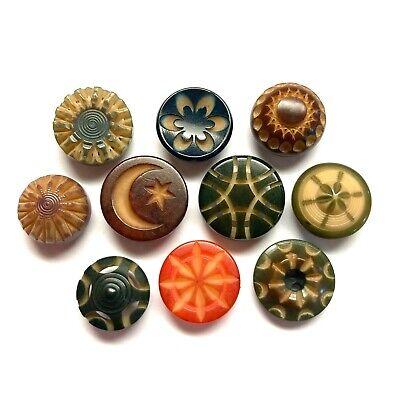 Huge Vintage Carved Flower Buttons Set of 6 Large Buttons Hand Carved Big Buttons Hand Made Buttons Bone or Horn Flower Buttons