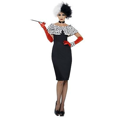 Erwachsene Damen Evil Madame Dalmatiner Cruella Bösewicht Kostüm Buch Kostüm - Disney Bösewichte Kostüm