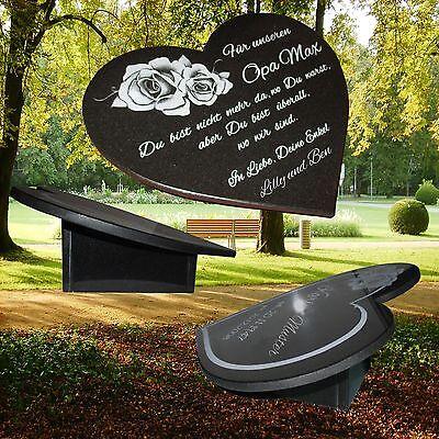 Grabstein Grabplatte Herz Gravur Granit mit Granitsockel 34,5x29 cm Grabschmuck