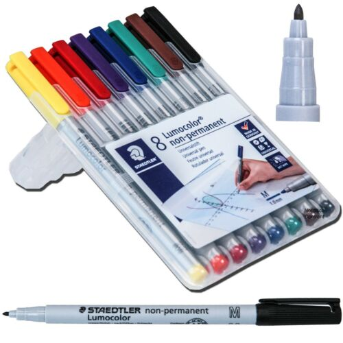 Staedtler 315WP8 Lumocolor Non-Permanent Marker, Med Point 1.0 mm, 8 Color Set