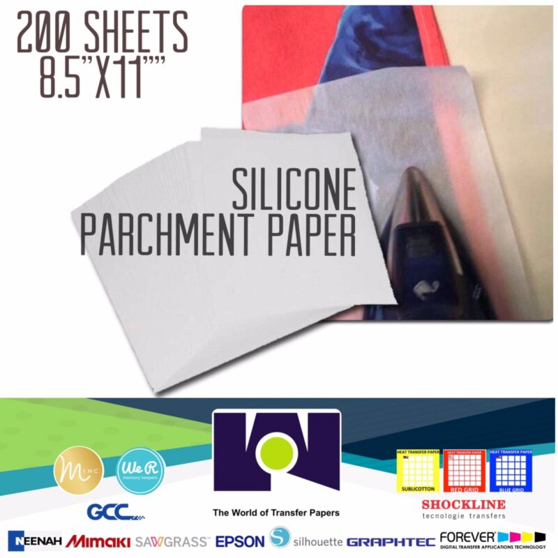 """Silicone Parchment Paper for Heat Transfer Applications 8.5""""x11"""" 200 SHEETS USA"""