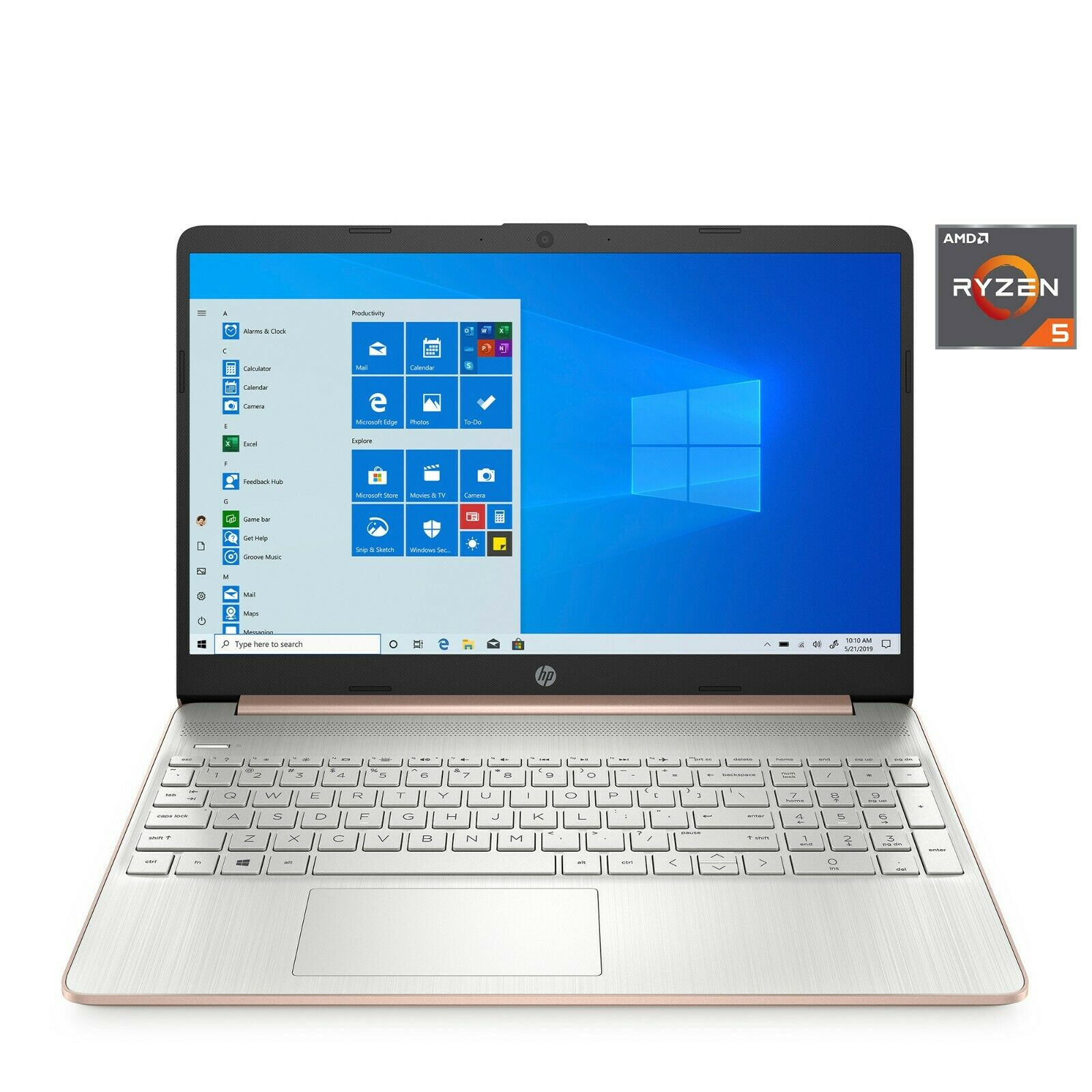 "Laptop Windows - NEW HP Laptop 15.6"" 256GB SSD 3.7GHz Max 8GB RAM AMD Ryzen 5 Windows10 Rose Gold"