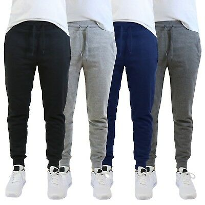 (Mens Jogger Pants Sweatpants French Terry Active Gym Lounge Sleep Skinny Fit NEW)
