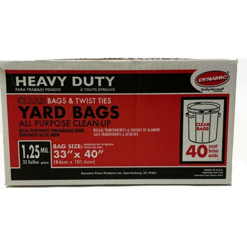 """Dynamic 23303 Heavy Duty Clear Yard Bags, 33 Gallon, 33"""" x 40"""", 1.25mil, 40 Bags"""