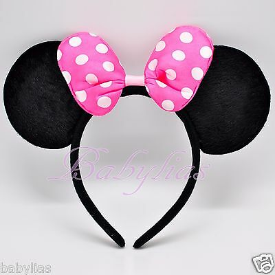 Minnie Mouse Ears PINK Bows Headband Black Polka Dot Party Favors Costume Mickey