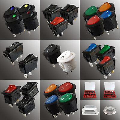Wippschalter Kippschalter Minischalter Snap-In LED Sets AC 230V DC 12V Kappen - Snap In Wippschalter