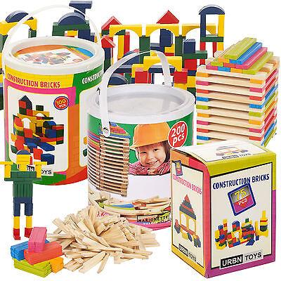 Wooden Construction Toys (Classic Wooden Construction Building Blocks Bricks Kids Toy Set Pieces Xmas)