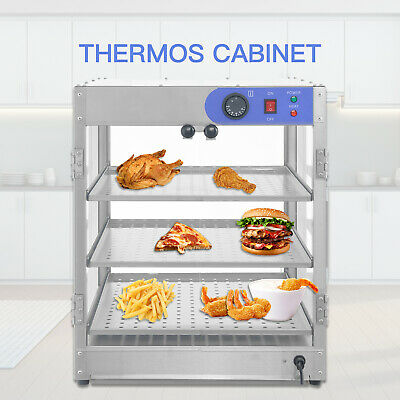 20x20x24 3-tier Commercial Countertop Food Pizza Warmer Display Cabinet Case