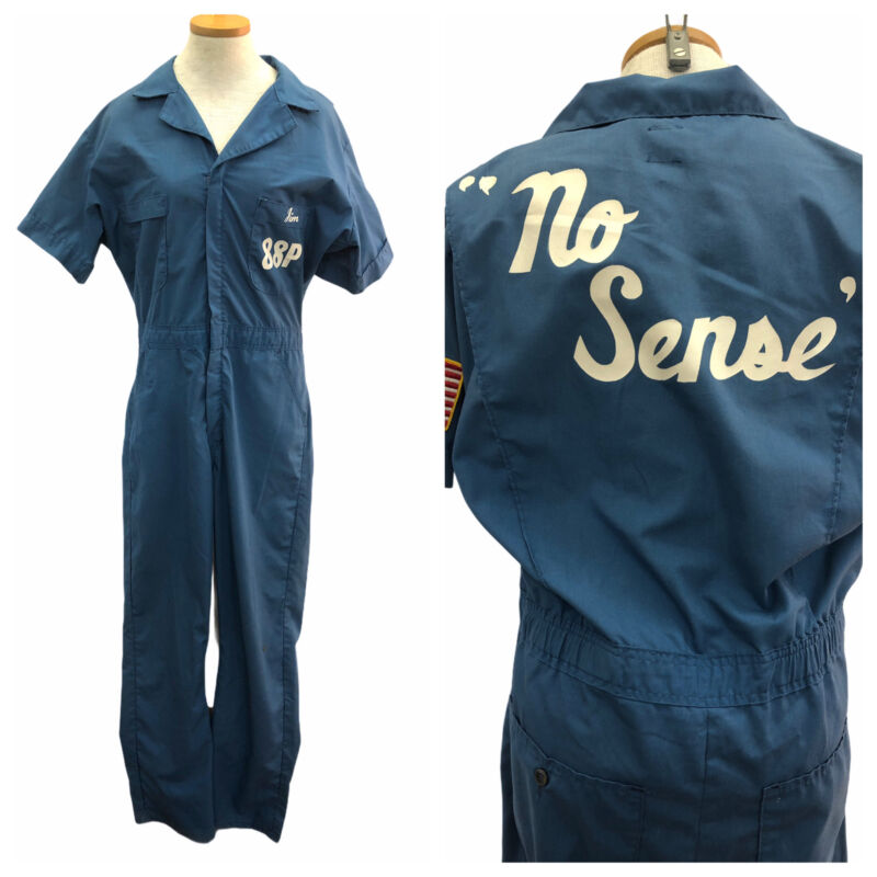 Vintage VTG 1970s 70s Blue Painted Patched Personalized Work Coveralls Jumpsuit