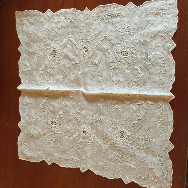 Antique Heavily Embroidered Light Ecru Bridal Wedding Handkerchief Hanky