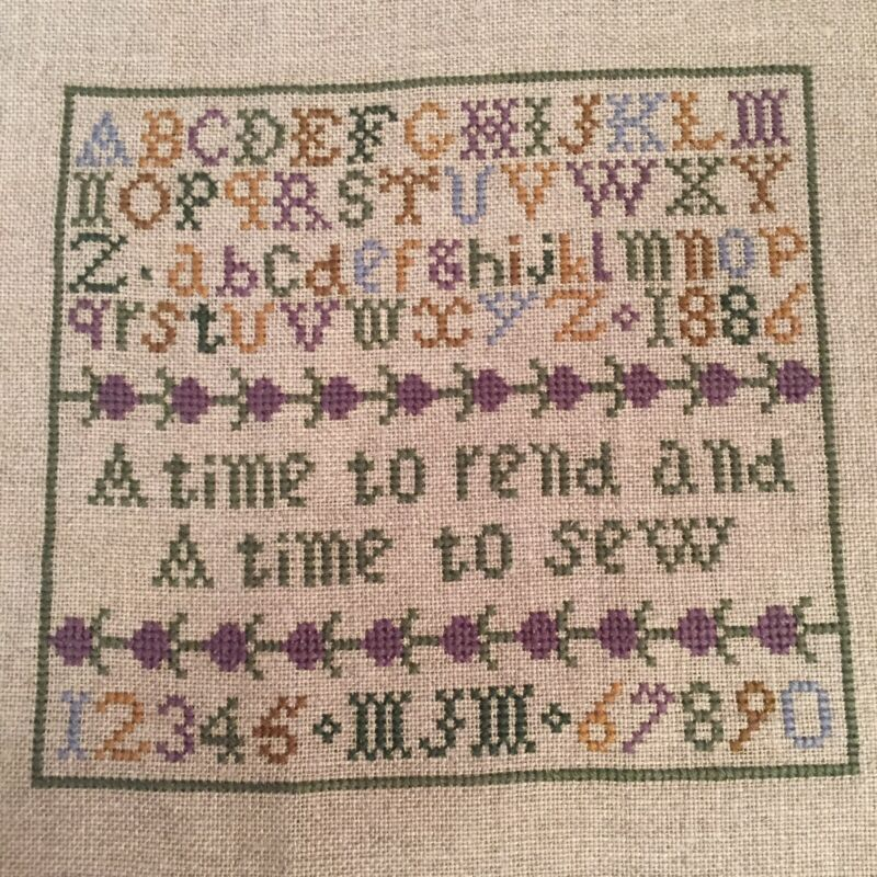 Completed Small Sampler Reproduction Cross Stitch for Framing or Pillow Linen