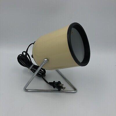 Vintage MCM Underwriters Laboratories Portable Lamp Tan Metal Stand Spotlight