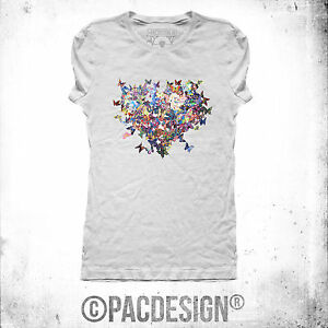 T Shirt Donna Butterfly Farfalle Heart Cuore Why So Happiness