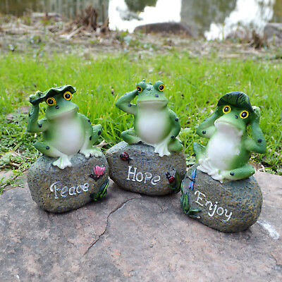 Set of 3 Frog Figurines Collectible Resin Fairy Garden Statues Home Decoration