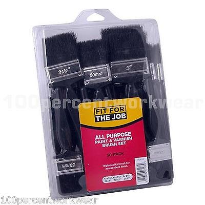 FFJBS50 50pc Economy Paint Brush Set Plastic Handles Bristle Painters Decorators