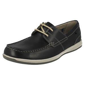 Clarks-039-fallston-stile-039-uomo-pelle-blu-scuro-con-lacci-eleganti-scarpe-casual