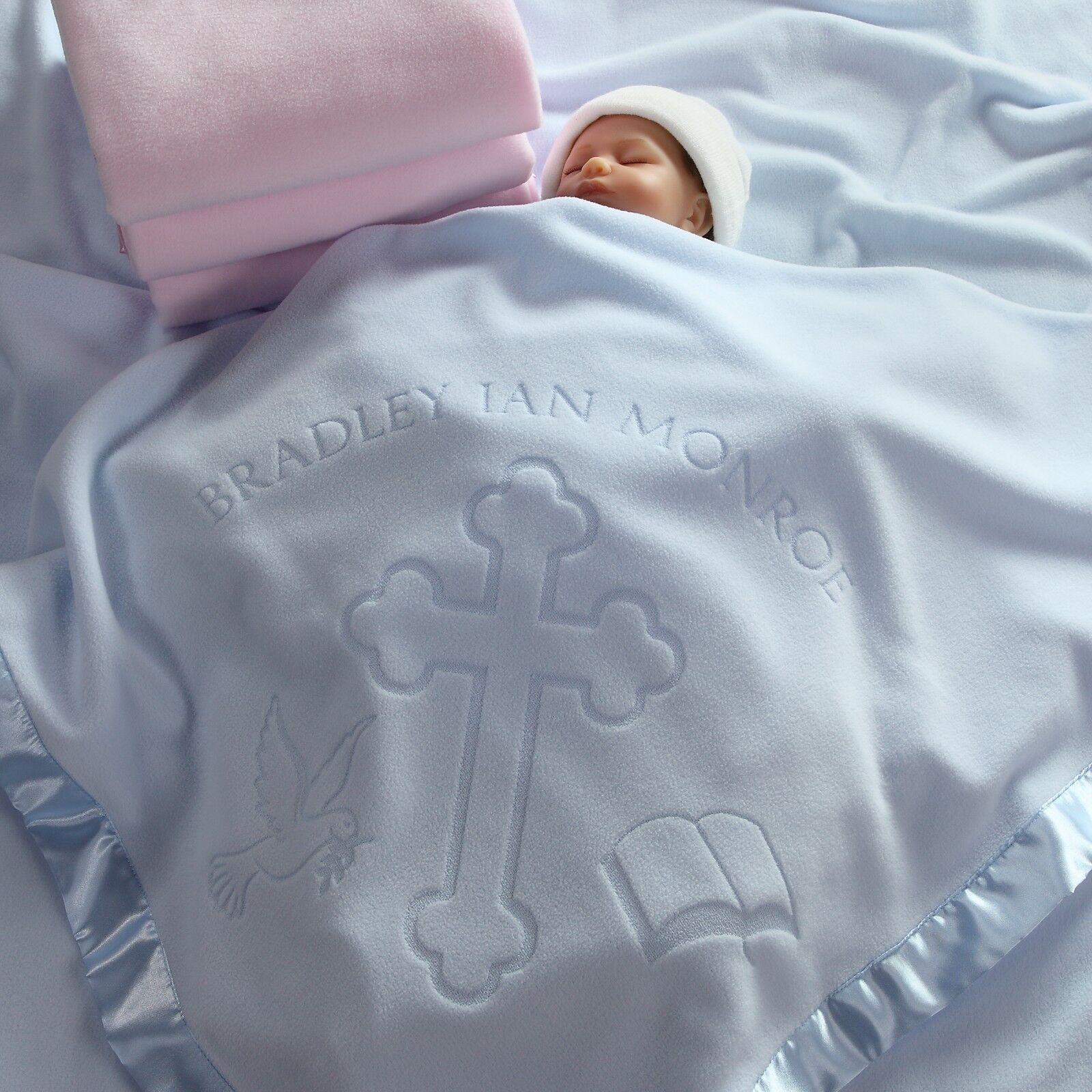 36x36 Personalized Baptism Baby Blanket with Name - Christen