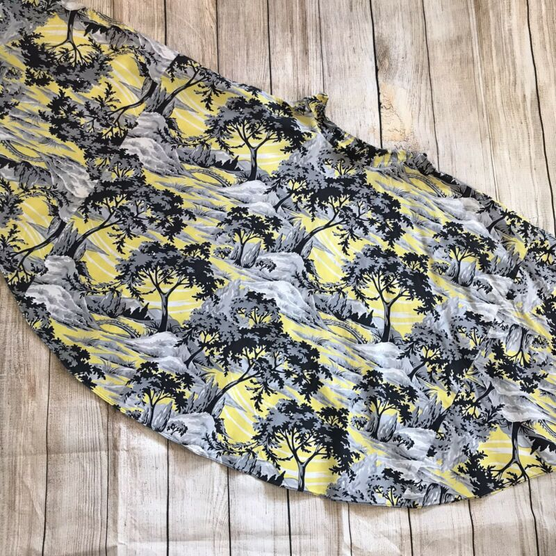 Vtg Novelty Handmade Full Circle Skirt XS Forest Scenic Bridge Yellow Black DMG