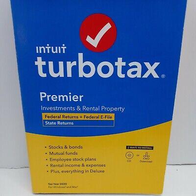 New Sealed TurboTax Premier 2020 Federal Returns + Federal E-File