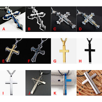 Cross Pendant Necklace Stainless Steel Unisex Crucifix Men Women Chain 12 styles