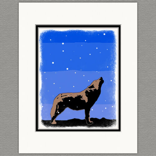 Howling Wolf Winter Graphics Snow Original 8x10 Art Print Matted 11x14