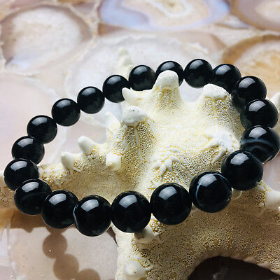Black Stripe Agate Bracelet Length 7.5