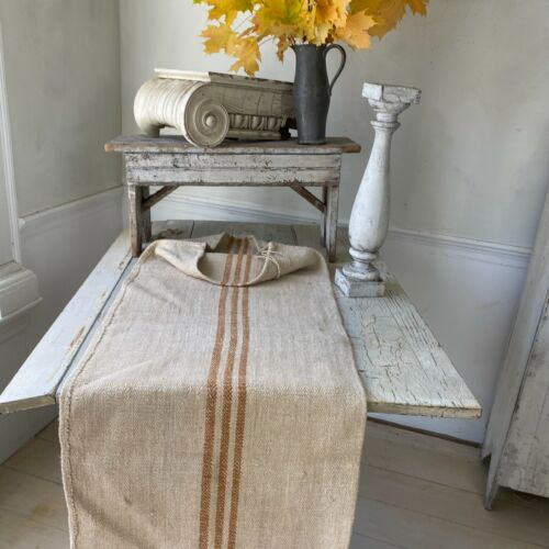 Organic fabric hemp Antique French Grainsack Linen  HEAVY twill caramel