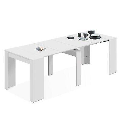 Mesa de comedor, consola extensible mesa cocina, mesa escritorio, Blanco Brillo