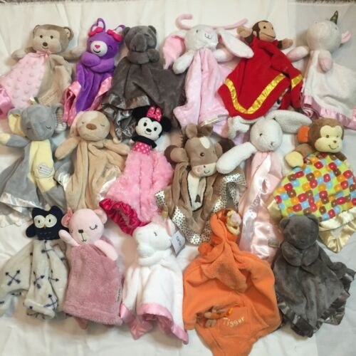 Lot of 17 Mixed Multicolor Plush Stuffed Animal Baby Blanket  Soft Security