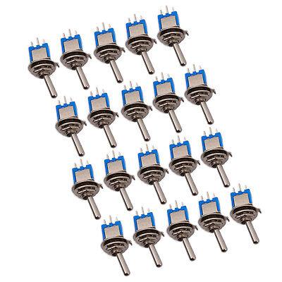 Us Stock 20pcs Blue Mini Spdt Guitar Toggle Switch On-on Diy Smts-102