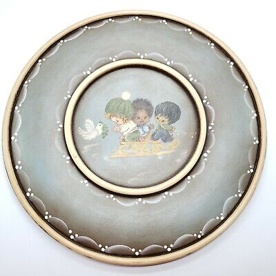 Handmade Tole Ware Painted Wooden Hanging Plate Winter Christmas Scene Sled Kids