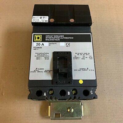 Square D Fc Fc34020 3 Pole 20 Amp 480v Circuit Breaker Gray Ak