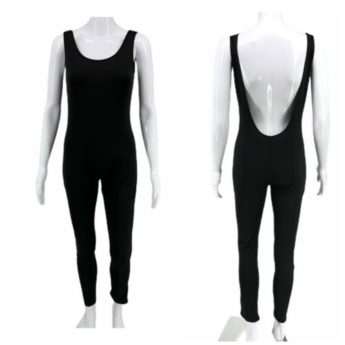 Full Length Black Spandex Unitard Catsuit Jumpsuit Sz XL Workout Costume Dance